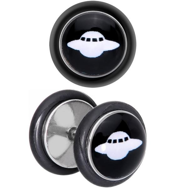 Black White Spaceship UFO Cheater Plug