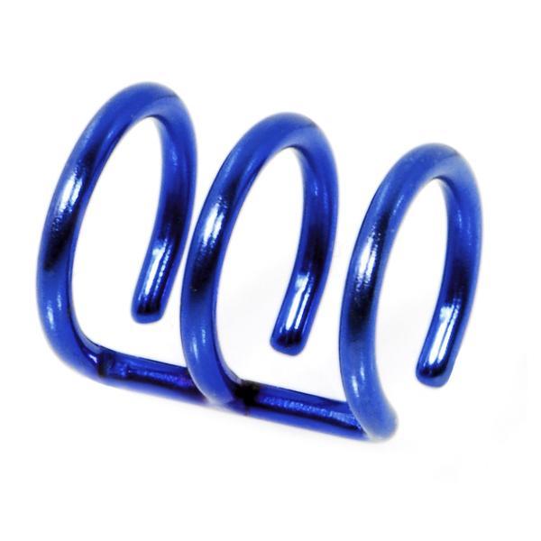 3-Ring Blue Titanium Non Pierced Clip On Closure Ring